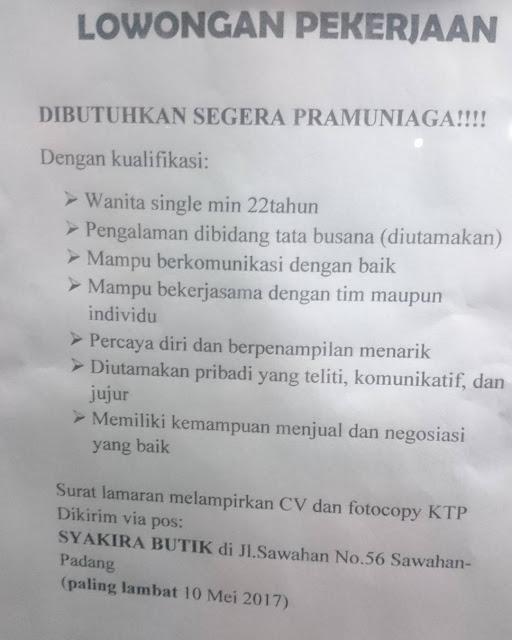 Lowongan Kerja Padang: Syakira Butik Mei 2017