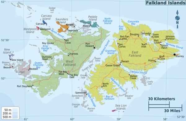 Mapas das Ilhas  Malvinas ou  Falklands | Reino Unido