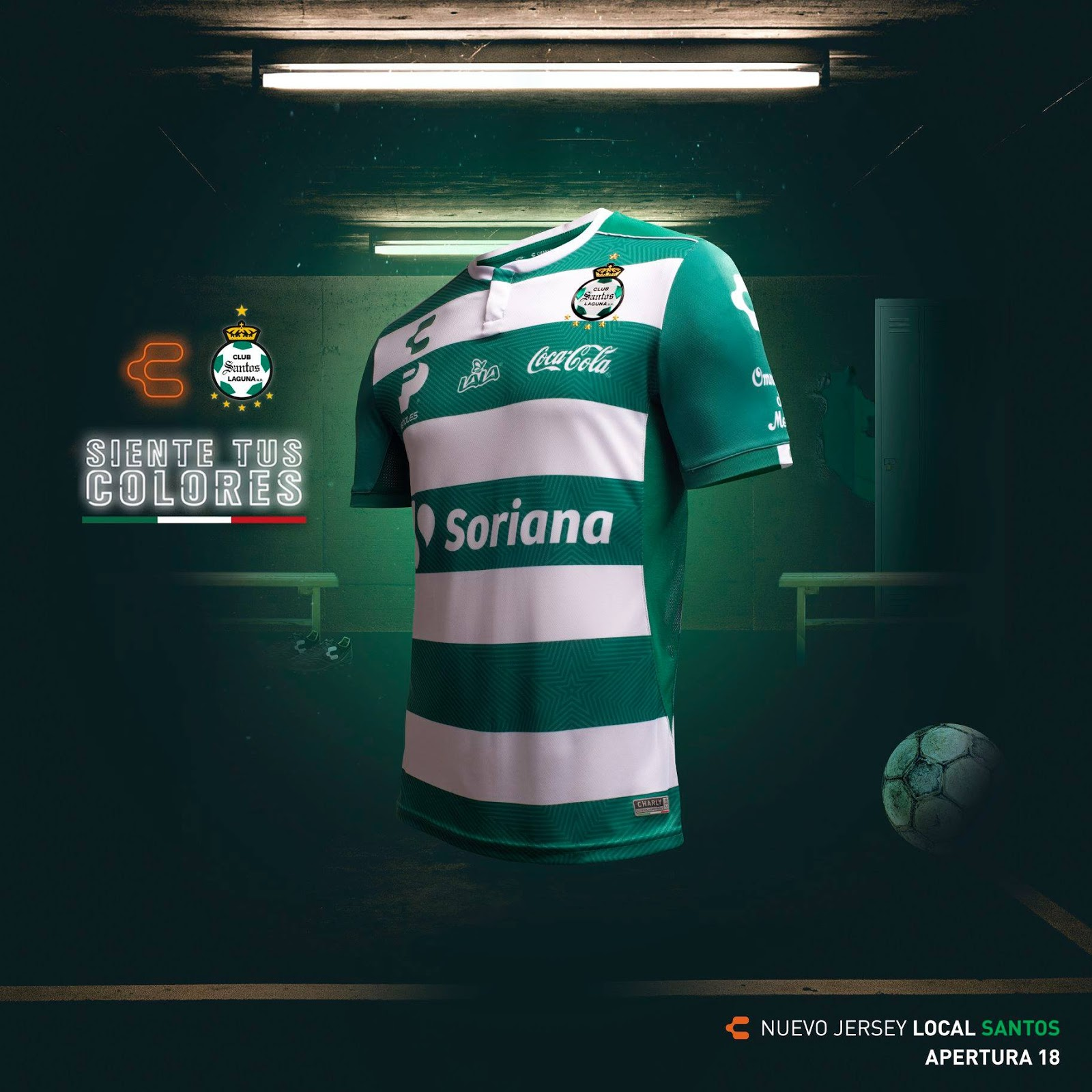 75e9ee784 The new Santos Laguna home jersey has a conservative design in the usual  colors while featuring its fair share of sponsor logos placed practically  ...