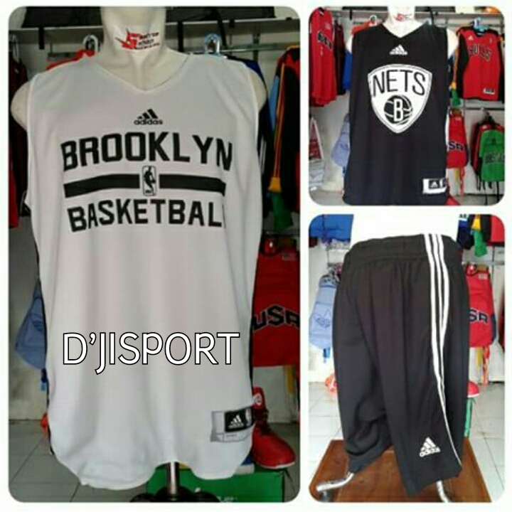 Jersey latihan Brooklyn Basketball (Hitam Putih) c8428011e