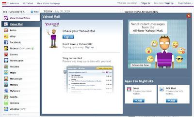 Pratinjau email homepage baru yahoo