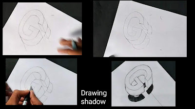 How to draw shadow texture for letters, easy tutorial for to draw 3d , step by step instructions of G, easy tutorial of G, 3d shadow of drawing, step by step guide of shadow texture, guide for shadow texture drawing, easy drawing tutorial,