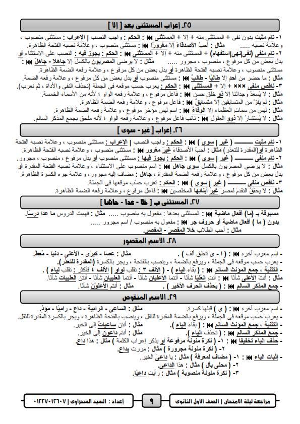 مراجعة ليلة امتحان اللغة العربية للصف الاول الثانوي ترم ثاني أ/ السيد السحراوي 9