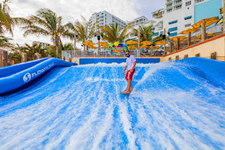 Surfing the FlowRider at Margaritaville Hollywood Beach Resort
