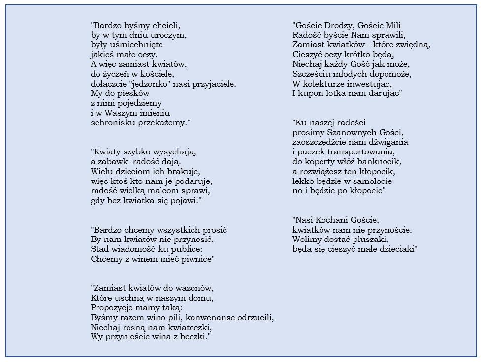 wierszyki slubne