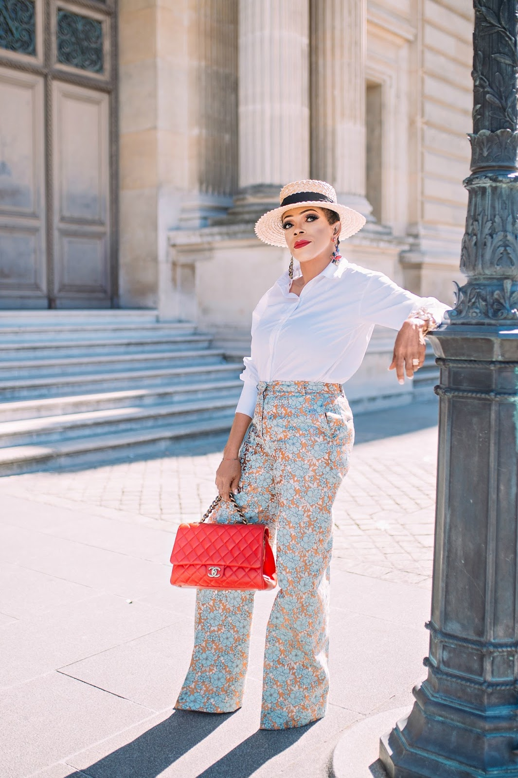 Floral jacquard pants with classic white pants and boater hat