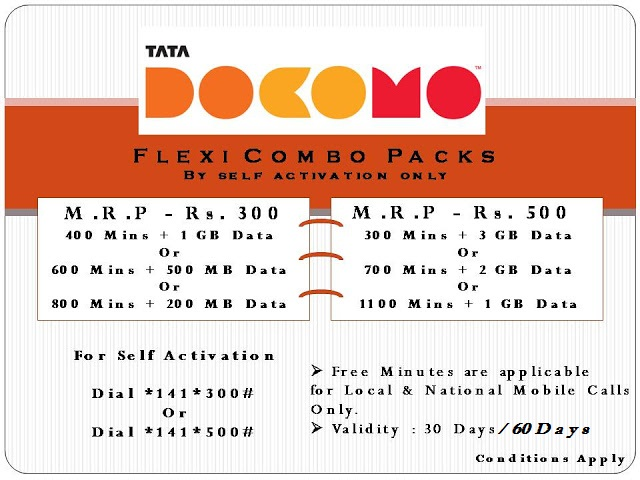 Tata Docomo GSM Flexi Combo Packs | Recharge Tariffs