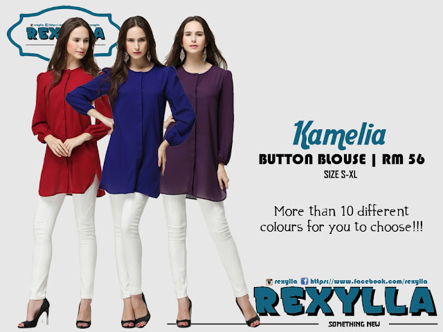 rexylla, puffy button, blouse, kamelia collection