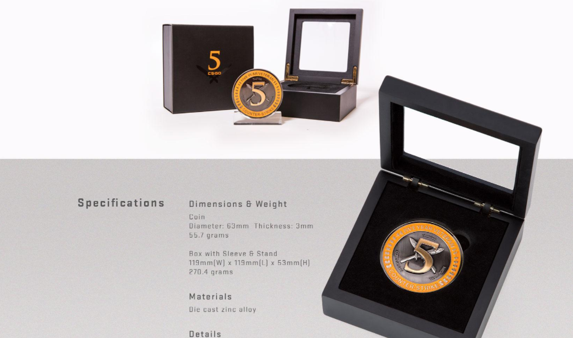 Valve nos sorprende poniendo a la venta la medalla de cinco años de servicio de Counter Strike