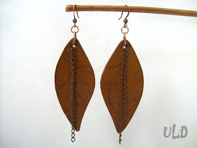 Leaf leather earrings, genuine leather earrings, leather anniversary gift, leather jewelry, leather accessories, uniqueleatherdesign