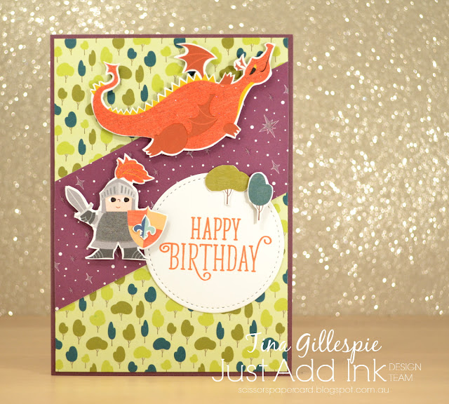scissorspapercard, Stampin' Up!, Just Add Ink, Myths & Magic DSP, Happy Birthday Gorgeous, Stitched Shapes Framelits