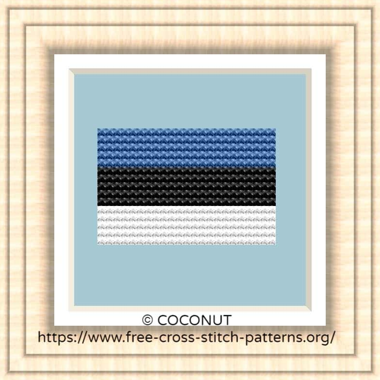 NATIONAL FLAG OF ESTONIA CROSS STITCH CHART