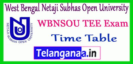 WBNSOU West Bengal Netaji Subhas Open University UG PG Term End Exam Time Table