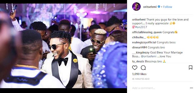 Instagram users celebrate Oritse Femi on his past wedding with Nabila Fash-See Photos