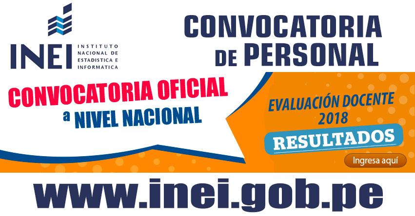 INEI RESULTADOS CONVOCATORIA 2018 - www.inei.gob.pe