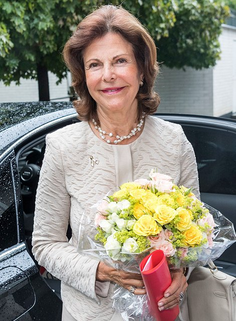 Queen Silvia of Sweden visited the training center of Silviahemmet Foundation in Stockholm