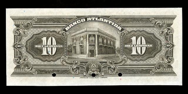 Currency of Honduras 10 Lempiras note bill