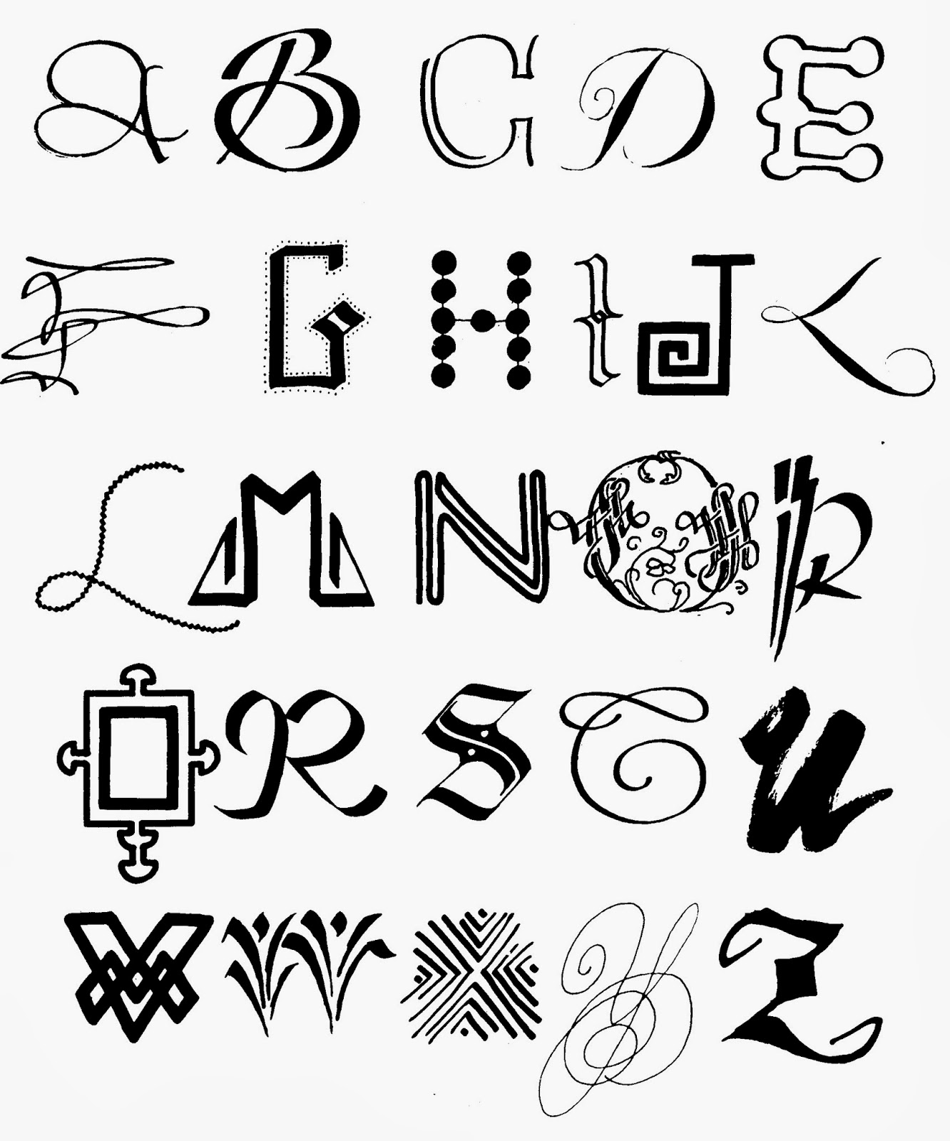 Cool Ways To Write Letters Of The Alphabet on india decorating