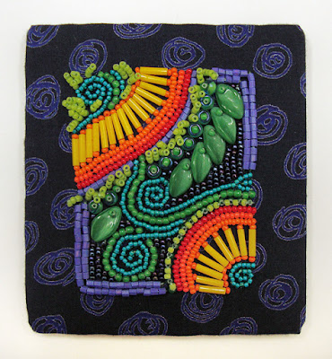 how to frame bead embroidery, beadwork laced around foam core board
