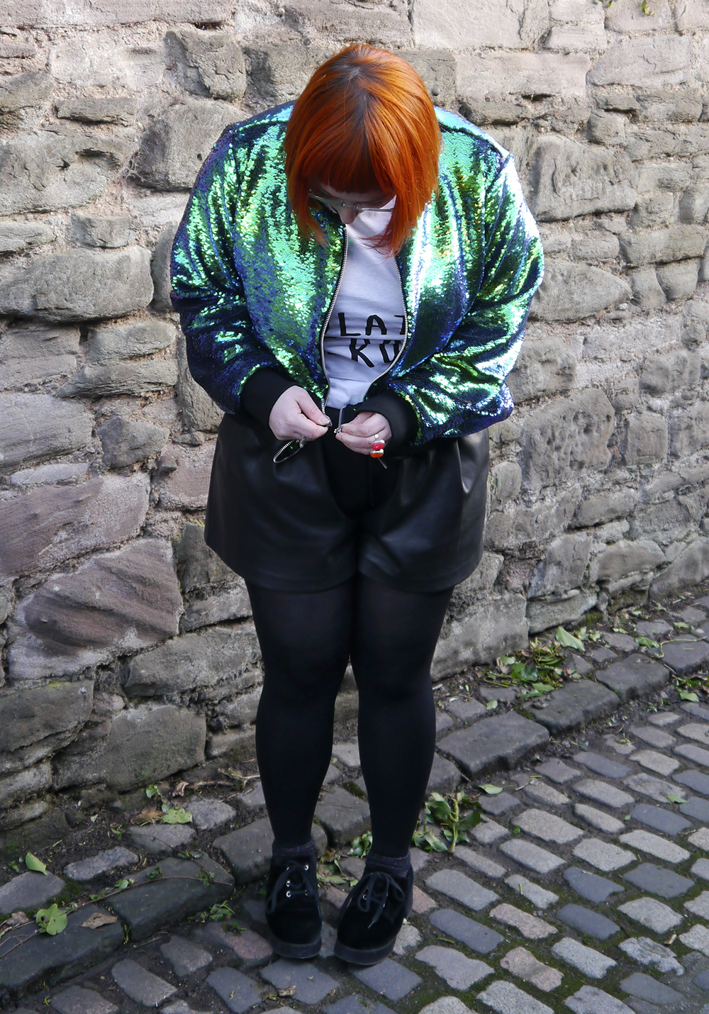 Isolated Heroes, Styled by Helen, Dundee designer, Scottish designer, Scottish blogger, Independent designer, street style, sequined outfit, bomber jacket, sequin bomber jacket, mermaid sequins