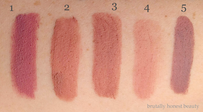 Swatches of Urban Decay Backtalk, Tarte Tarteist Creamy Matte Lip Paint in Birthday Suit, LA Girl Matte Lipstick in Snuggle, Burt's Bees Lip Crayon in Sedona Sands, Bite Beauty Amuse Bouche Lipstick in Thistle
