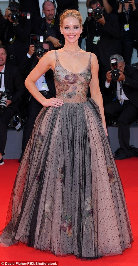 Jennifer Lawrence stuns in semi sheer gown at the Venice Film Festival