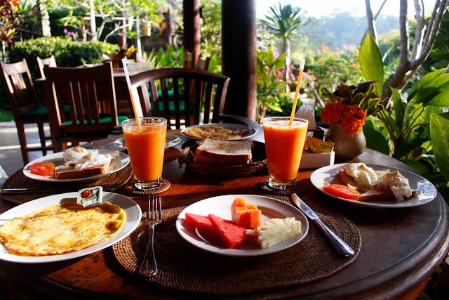 Desayuno del Hotel Bunga Permai de Ubud (Bali)