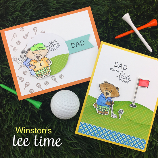Golf Cards by Jennifer Jackson | Winston's Tee Time | Golfing Bear Stamp set by Newton's Nook Designs