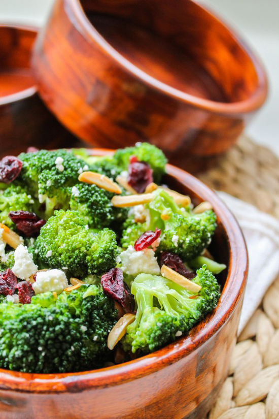 Broccoli with feta and fried almonds salad recipe by The Food Charlatan