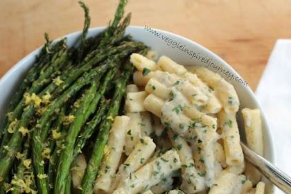 Creamy Lemon Pasta with Roasted Asparagus