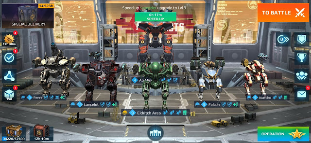 War Robots hangar with Fenrir, Lancelot, Ares, Falcon and Kumiho.