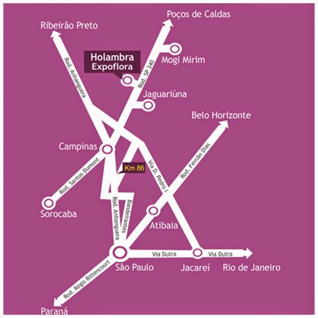 mapa para chegar em Holambra