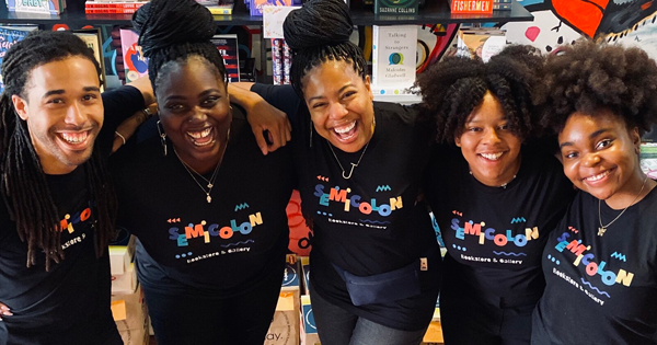 Danielle Mullen, the owner of Semicolon Bookstore in Chicago, with her staff