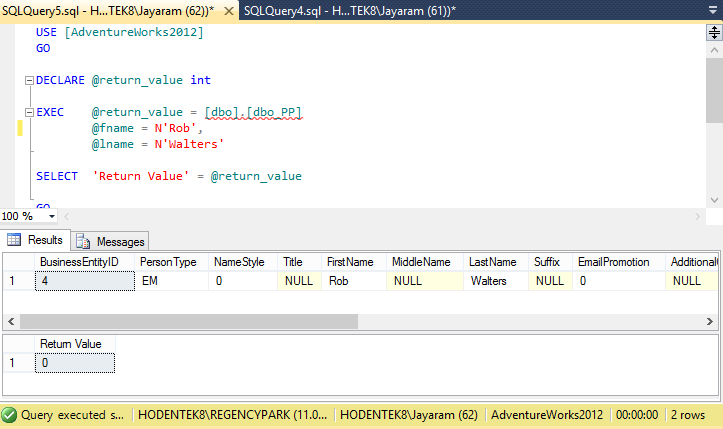 how to execute sql serve stored procedure in access vba