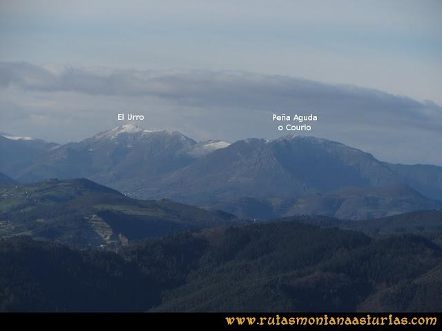Ruta Sierra Bufarán, picos Degollada o Grande y Cotera: Vista del Urro y Peña Aguda o Courio