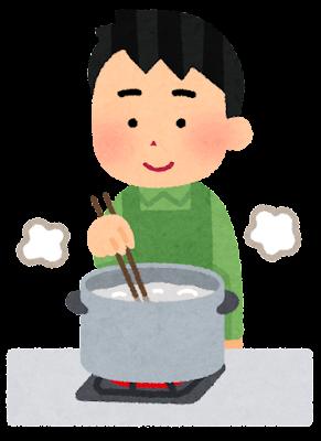 食材を茹でている人のイラスト(男性・箸)