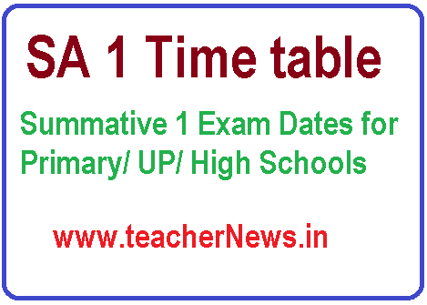 AP SA1 Time Table 2018 from Nov 12th as per Rc No 3 For 1st to 10th Classes