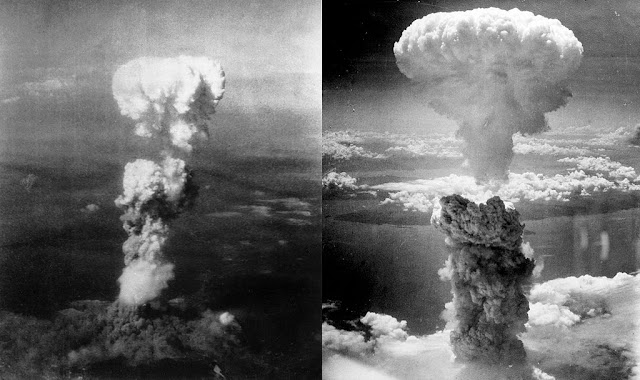 Awan jamur bom atom di langit Hiroshima (kiri) dan Nagasaki (kanan)