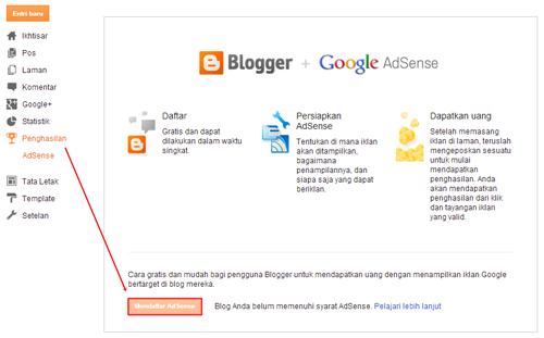 menu penghasilan adsense di blog