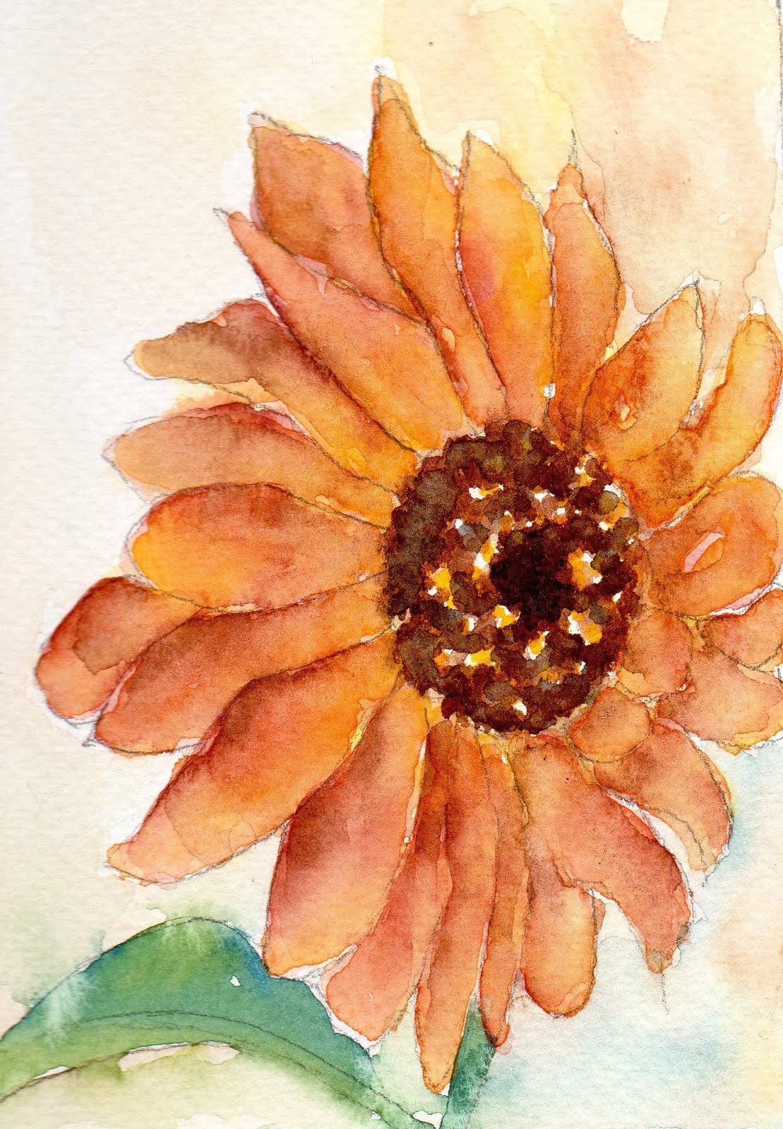 Watercoloreveryday Rust Colored Sunflower