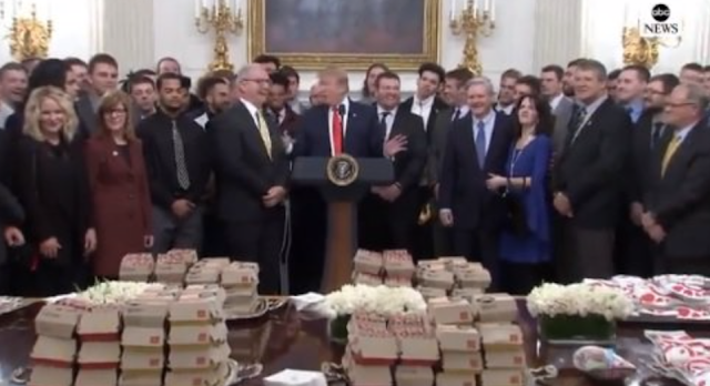 President Trump Welcomes 2018 Division 1 FCS National Champions to White House – Serves Chick-fil-A