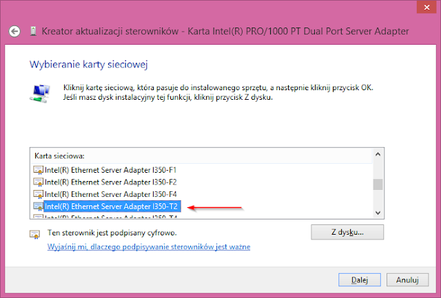 "Wskazanie sterownika ""Intel(R) Ethernet Server Adapter I350-T2"""