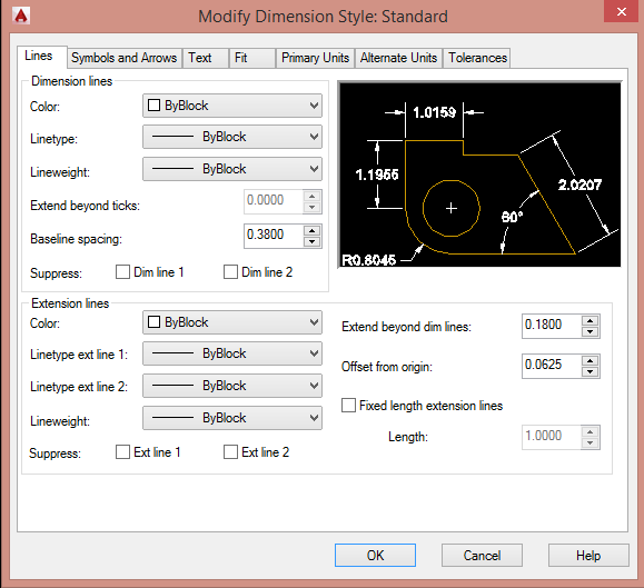 Autocad: Thiết lập DIMENSION STYLE