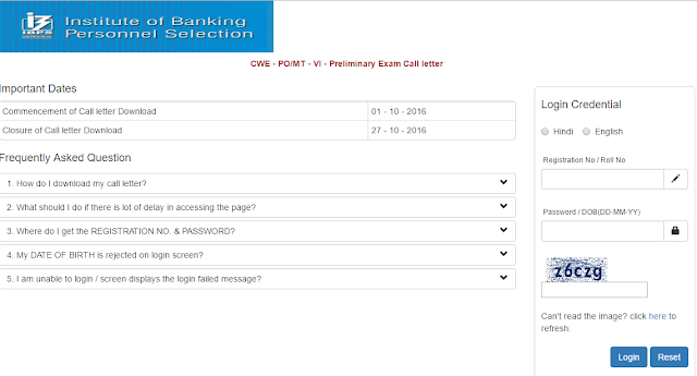 IBPS CWE PO VI Prelims Admit Card out