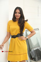 Actress Poojitha Stills in Yellow Short Dress at Darshakudu Movie Teaser Launch .COM 0116.JPG