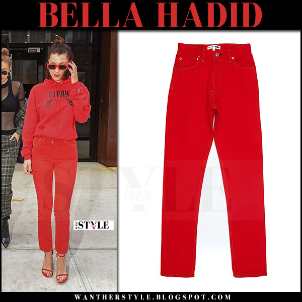 Bella Hadid in bright red jeans re done and red hoodie what she wore may 4 2017