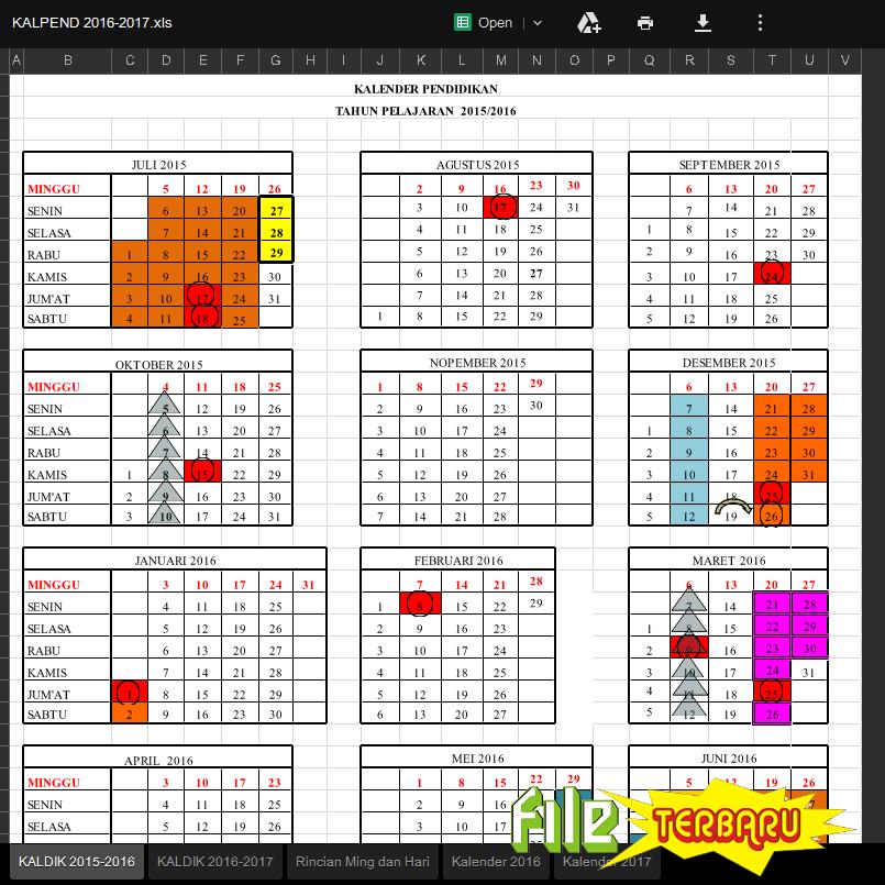 Download Kalender Pendidikan Kaldik Tahun Pelajaran 2016 2017 File Terbaru