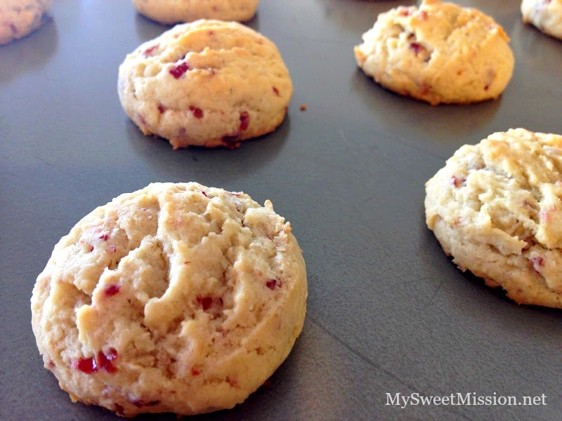 White Chocolate Dipped Cranberry Cookies by MySweetMission.net