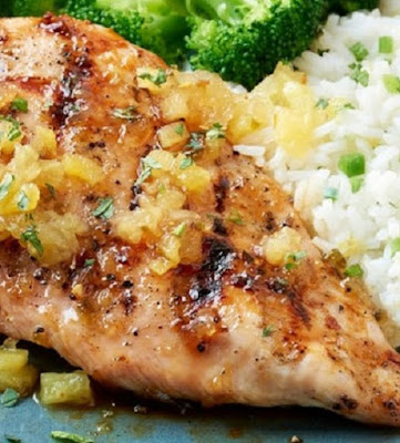 grilled pineapple-glazed chicken breasts with lemon-jalapeno