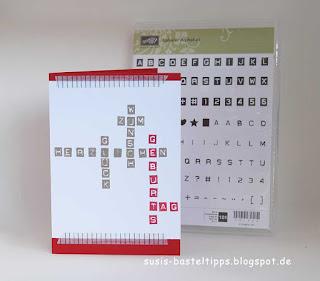eine Stampin Up Karte für Fans von Scrabble und Kreuzworträtseln